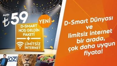 D-Smart Dünyası ve limitsiz internet bir arada, çok daha uygun fiyata!
